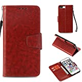 Aipyy iPhone 8 Plus Case, iPhone 7 Plus Case, Retro Leather Wallet Case [Slim Fit] Folio Book Design with Stand and Card Slots Flip Case Cover for iPhone 8 Plus Brown