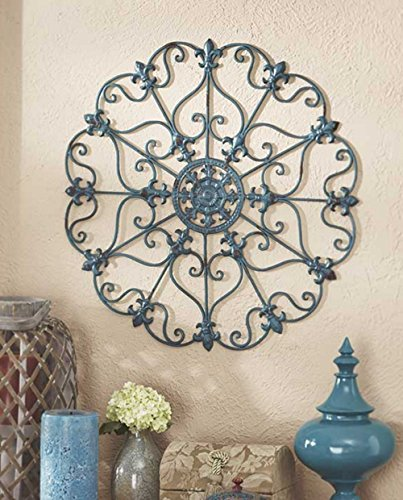 (Teal Metal Antiqued Finish Iron Wall Medallions Display Hangs Indoors or Porch or Patio Wall Art Decor Home Decorations)