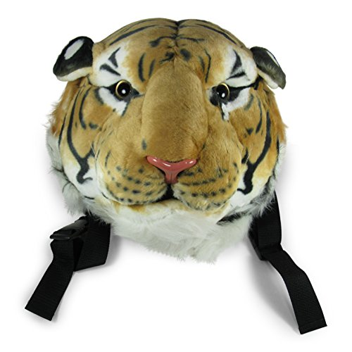 (Plush Tiger Head Backpack, Stuffed and Adjustable, Wall Mount, Orange Bengal Tiger)