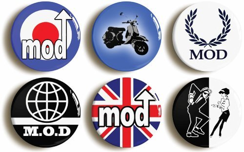 6-x-MOD-SIXTIES-RETRO-BADGES-PINS-BUTTONS-1inch25mm-diameter