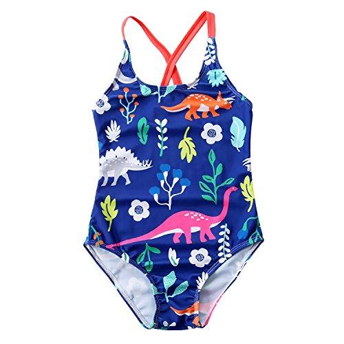 Looching Little Girls One Piece Swimsuit Cartoon Pattern Printing Bathing, Navy, 4-5 Years