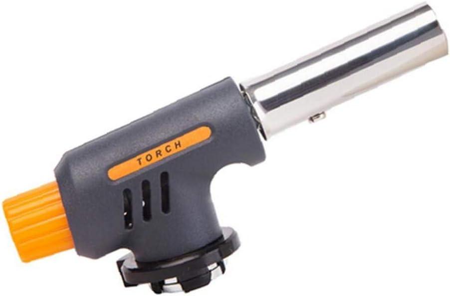 Linterna de gas portátil de la pistola de llama de hierro encendedor de encendido electrónico quemador de fuego para camping picnic gris