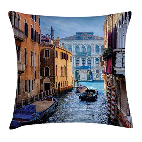 Ambesonne Cityscape Throw Pillow Cushion Cover, Canal in Venice Italy Landmark Historical Famous Holiday Destinations of World, Decorative Square Accent Pillow Case, 18 X 18 Inches, Blue Brown