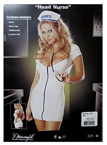 Sexy Flirty Nurse Costumes (Dreamgirl Womens 'Head Nurse' Halloween Costume, White, S)