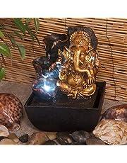 Creative Touch Mini Fuente de Agua para Interior Ganesh con Luz LED | Tamaño 13,3 x 13,3 x 18 cm | 3 pines enchufe UK incluido |