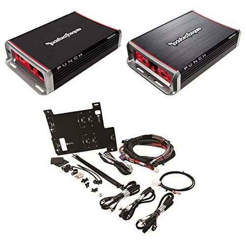 Rockford Fosgate Polaris RZR 2-Ch+4-Ch Amplifiers+Wire Harness+Mounting Plate high-quality