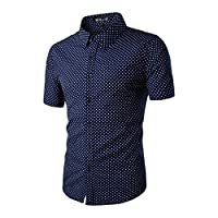 uxcell Men Short Sleeves Single Breasted Cotton Dots Shirt Blue XL US 46