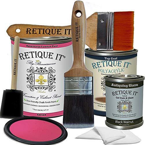 Retique It Chalk Furniture Paint by Renaissance DIY, Poly Kit, 54 Cerise, 32 Ounces