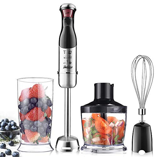 Betitay 4-in-1 Immersion Hand Blender Mixer,Electric Food Processor,Stepless Speeds for Smoothies,Vegetable,Meat and Baby Food with Safety Lock,Include Food Chopper,Mixing Beaker and Egg Whisk (Electric Baby Food)