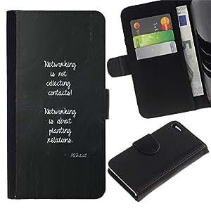 All Phone Most Case / Oferta Especial Cáscara Funda de cuero Monedero Cubierta de proteccion Caso / Wallet Case for Apple Iphone 4 / 4S // mensaje inspirador cartel redes gris
