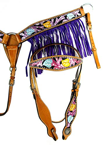 Tooled Leather Purple Pink Show Barrel TACK Western Headstall BREASTCOLLAR Set