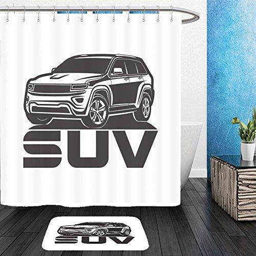 Vanfan Bathroom 2 Suits 1 Shower Curtains    1 Floor Mats Suv Logo Design Car Crossover Vector Illustration 443814481 From Bath Room