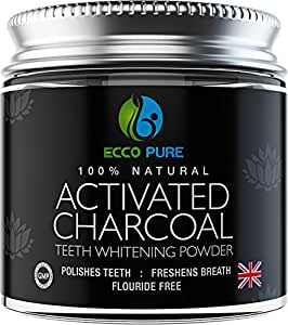activated charcoal natural teeth whitening powder by ecco pure efficient. Black Bedroom Furniture Sets. Home Design Ideas