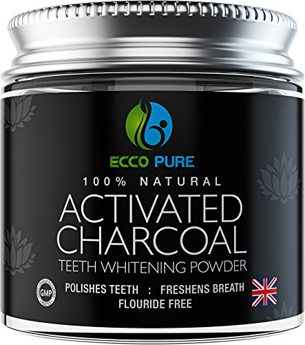 Activated Charcoal Natural Teeth Whitening Powder by Ecco Pure | Efficient Alternative to Charcoal Toothpaste, Strips, Kits, & Gels