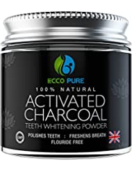 Activated Charcoal Natural Teeth Whitening Powder, Proven Safe For Enamel, Higher Efficiency Than Charcoal Toothpaste, Strips, Kits, & Gels