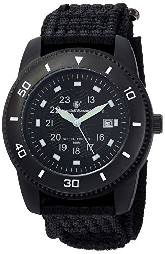 Smith & Wesson Men's Commando Watch with 3ATM/Japanese Movement/Stainless Steel Caseback/Glowing Hands/Nylon Strap, 45mm, Black (Humvee Watch)
