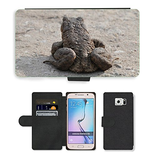 Just Phone Cases Flip PU Leather Wallet Case with Credit Card Slots // M00127463 A Toad Common Toad The Frog Amphibian // Samsung Galaxy S6 (Not Fits S6 Edge)