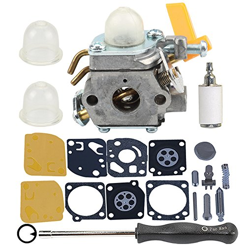 Hilom 308054013 carburetor with Adjusting tool Fuel Filter for C1U-H60 308054012 308054004 308054008 25cc 26cc 30cc Ryobi Homelite Poulan Craftsman String Trimmer Brush Cutter by Hilom