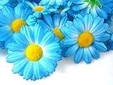 """(24) Silk Blue Gerbera Daisy Flower Heads , Gerber Daisies - 1.75"""" - Artificial Flowers Heads Fabric Floral Supplies Wholesale Lot for Wedding Flowers Accessories Make Bridal Hair Clips Headbands Dress"""