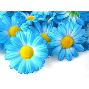 """(24) Silk Blue Gerbera Daisy Flower Heads , Gerber Daisies - 1.75"""" - Artificial Flowers Heads Fabric Floral Supplies Wholesale Lot for Wedding Flowers Accessories Make Bridal Hair Clips Headbands Dress 96"""