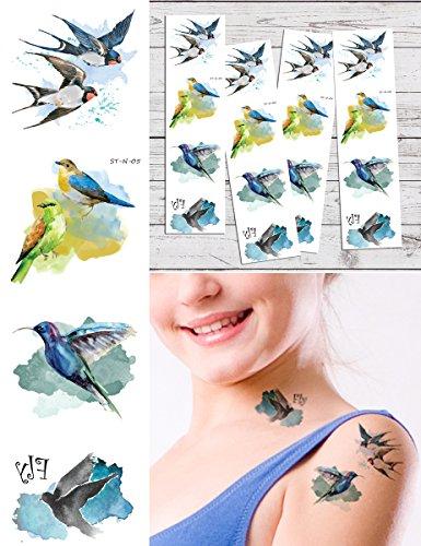 Supperb Temporary Tattoos – Hummingbird & Swallow Temporary Tattoo Tattoos (Set of 4)