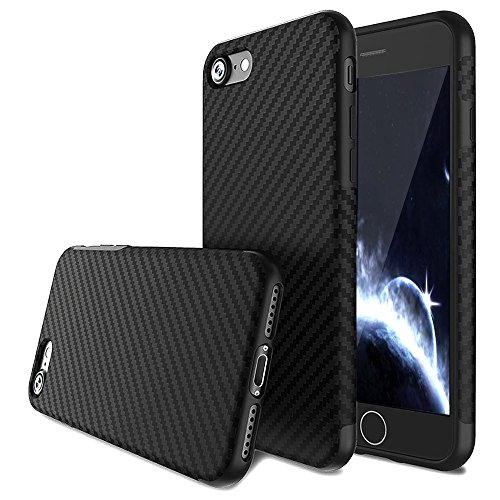 e SE Case,L-JUWA Luxury Carbon Fiber Line Flexible TPU Silicone Ultra Slim Back Case,Shock Absorbing Bumper Protective Case Cover for Apple iPhone 5s/5/SE (Black) ()