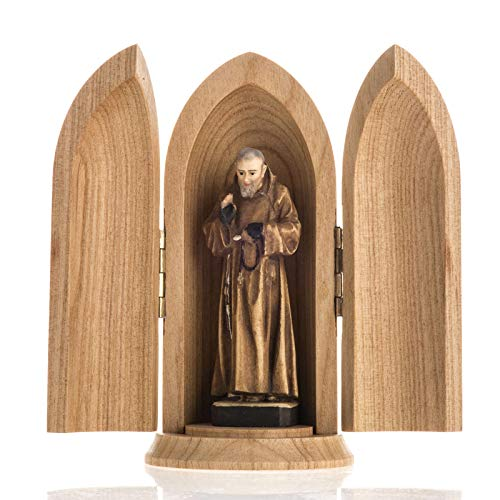Holyart Padre Pio Wooden Statue Painted in Niche