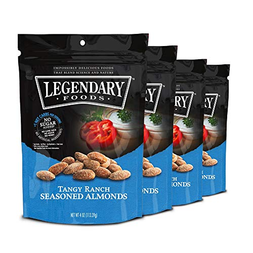 Legendary Foods Gourmet Flavored Almonds | Keto Diet Friendly, Low Carb, High Potassium, Good Protein & Fat | Tangy Ranch (4oz, Pack of 4)