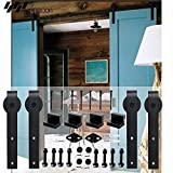WINSOON Sliding Barn Wood Door Hardware Cabinet Closet Kit Antique Style for Double Doors Black Surface (13FT /156'' 2 Doors Track Kit)