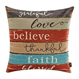 TRENDIN 18'' X 18'' Vintage Colorful Wooden Board Thanksgiving Grateful Love Words Linen Pillow Case Cushion Cover(PL078)