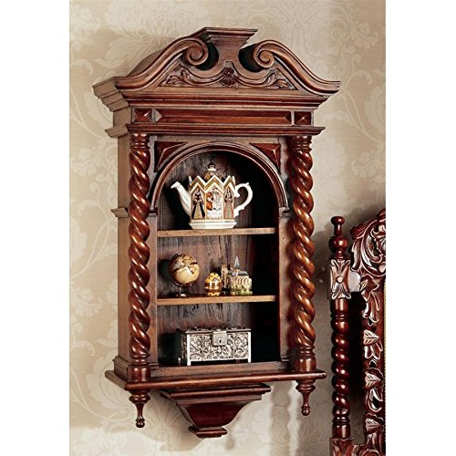 Display Cabinet - Charles II - Wall Mounted Curio Cabinet - Wood Barley Twist