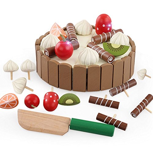 OWIKAR Pretend Play Cake Toys, Wooden Magical Simulation Mini Cake Pretend Play with Candles and Knife Cutting Food Educational Toy Set for Kids Baby Christmas Gift - Basics Dome Pendant