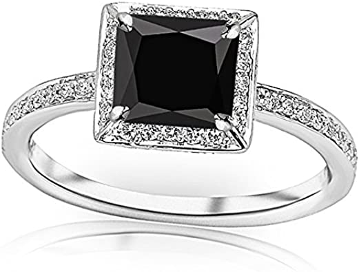 1 3 Carat T W 14k White Gold Victorian Halo Style Square Shaped Pave Set Round Diamond Engagement Ring W A 1 Carat Princess Cut Black Diamond Heirloom Quality Amazon Com
