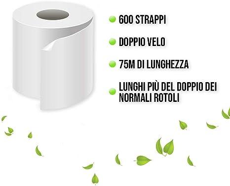 Pura Cellulosa 100/% Soffice e Resistente 40 Rotoli Bianca Professionale Carta Igienica 600 Strappi 2 Veli