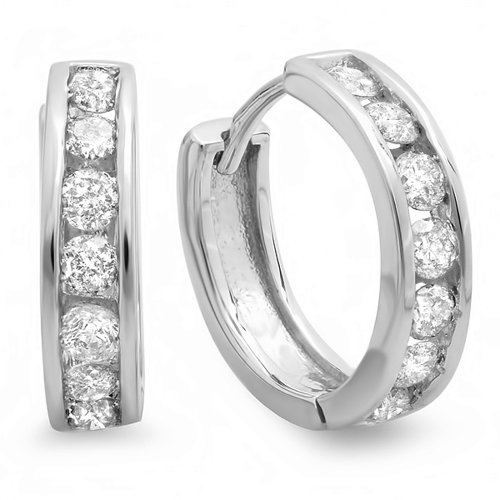0.50 Carat (ctw) 14K White Gold Round Cut Diamond Ladies Mens Unisex Huggie Hoop Earrings 1/2 CT 1/2 Ct Diamond Huggies Earrings