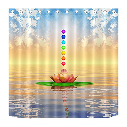 - LB Sky Water Lotus Flower Chakras Spiritual World Scene Shower Curtains for Bathroom, Spiritual Meditation Room Decor, 70