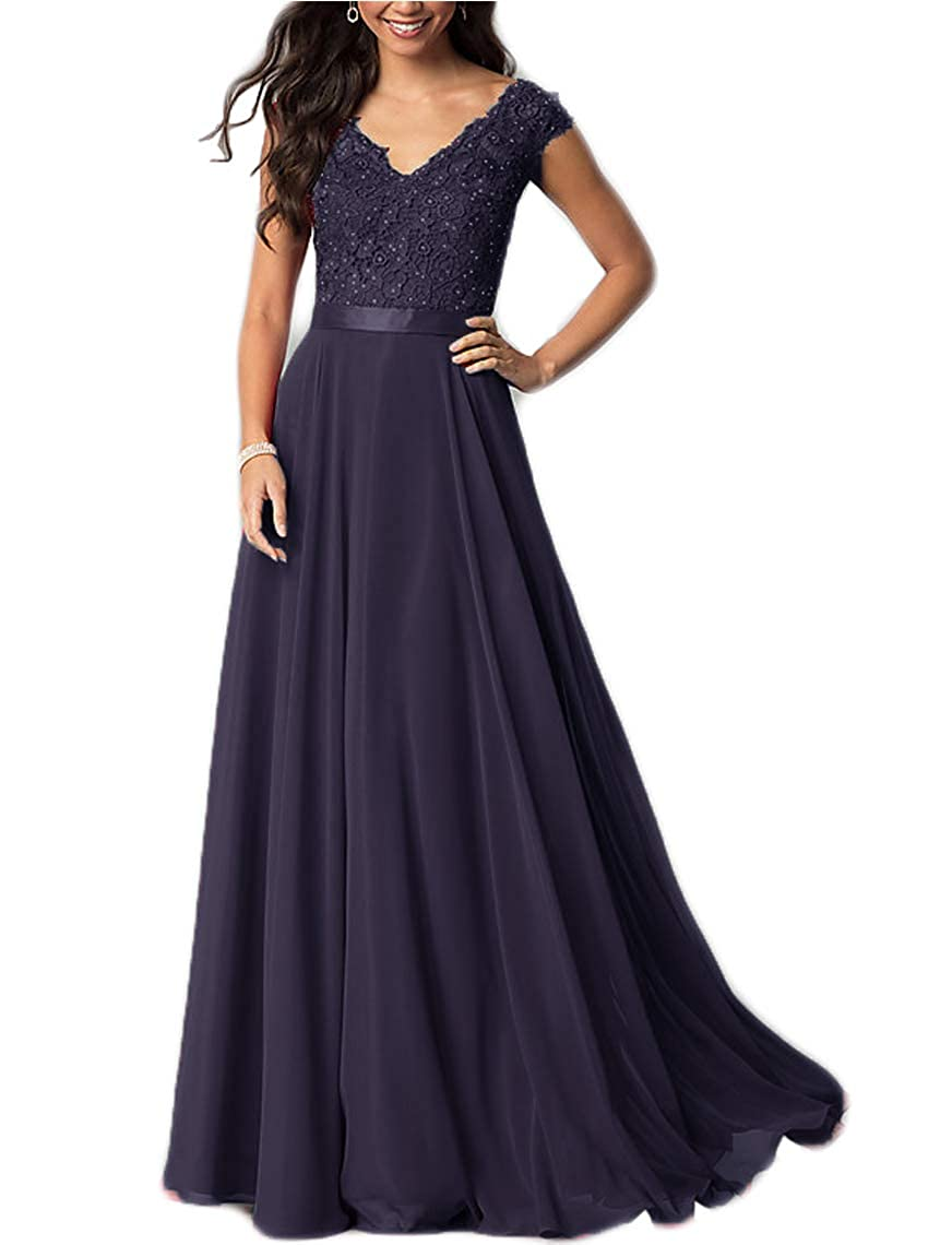 Navy liangjinsmkj Cap Sleeve VNeck Prom Dress Lace FloorLength Bridesmaid Dresses for Women