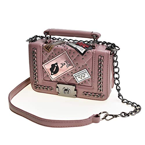 Cross Body Fashion Rivet Chain Bag Single Shoulder PU Leather Side Purse Messenger Bag Hand bag for Women and Girls (Mauve)