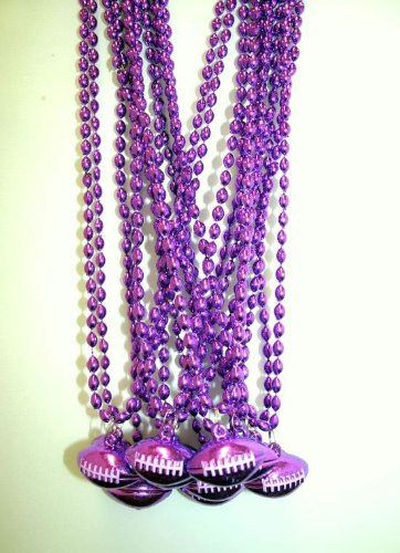 33 Inch - 6x9mm Oval Purple Mardi Gras Beads with Football Pendant - Dozen