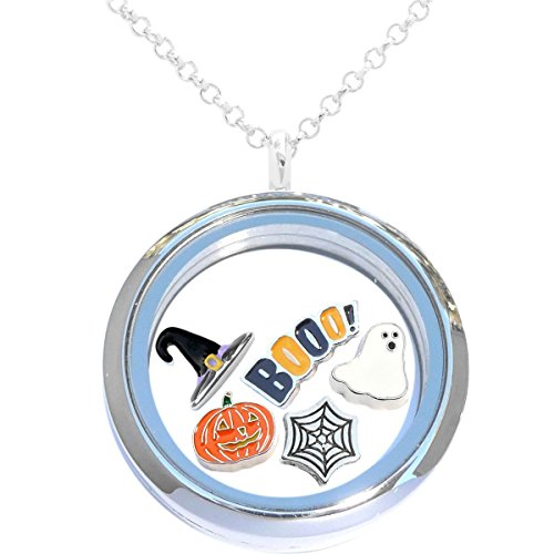 Halloween Floating Locket Set Featuring 30mm Locket, Necklace, and 5 Locket Charms -