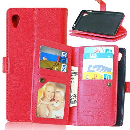 SRY-Funda simple Estuche Sony M4 Aqua, estuche de la cartera de la caja de cuero de la PU de color sólido de alta calidad para Sony M4 Aqua Conveniente y practico ( Color : Black , Size : M4Aqua ) Red