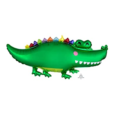 "Anagram 42"" Alligator Happy Smiling Green Gator Crocodile Colorful Mylar Balloon: Arts, Crafts & Sewing"