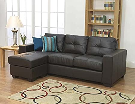 Furniture Link Gemona Brown Leather L Shaped Sofa Amazon Co Uk
