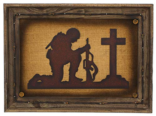 (Framed Wall Plaque of Kneeling Praying Soldier 17