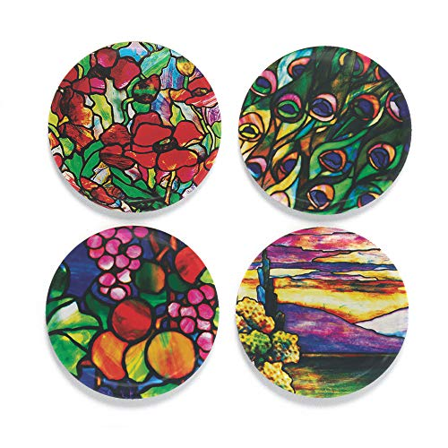 Buttonsmith Tiffany Poppies Magnet Set – Set of 4 1.25″ Magnets – Made in the USA