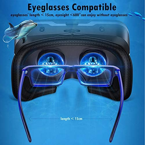 Immersive 3D VR Glasses Box Virtual Reality Headset Pro Version with Earphone Compatible for iPhone 11 Pro Samsung LG Moto HTC etc. 4.0-6.0inch Cellphone with Gift Wireless Remote Controller, Black 51uQb7f9DGL