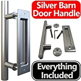 """Stainless Steel Sliding Barn Door Handle (Silver) Rounded Swiss Rod for Exterior, Flush Pull for Interior. All Screws Included for Easy Installation. Large 12"""". Modern, Elegant, Tough and Rust Proof"""