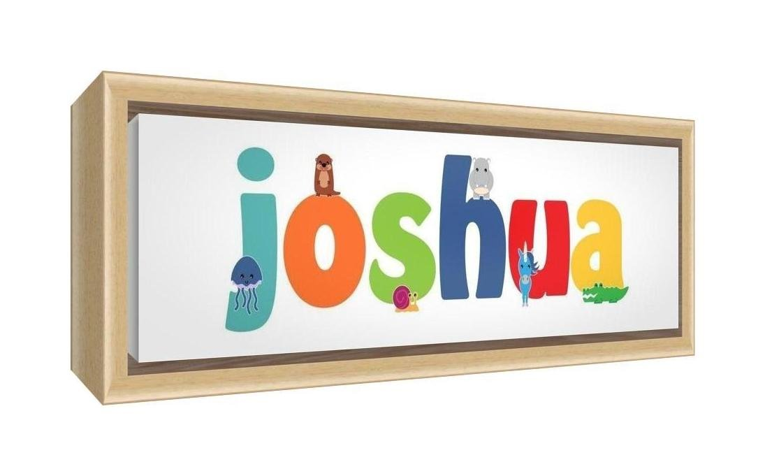 Feel Good Art Framed Box Canvas with Solid Natural Wooden Surround in Cute Illustrative Design Boy's Name (34 x 88 x 3 cm, Large, Joshua) LHV-JOSHUA3084-FCNAT-15
