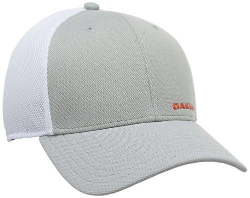 (Oakley Men's Silicon Bark Trucker 4.0 Hat, Stone Gray, Small/Medium)