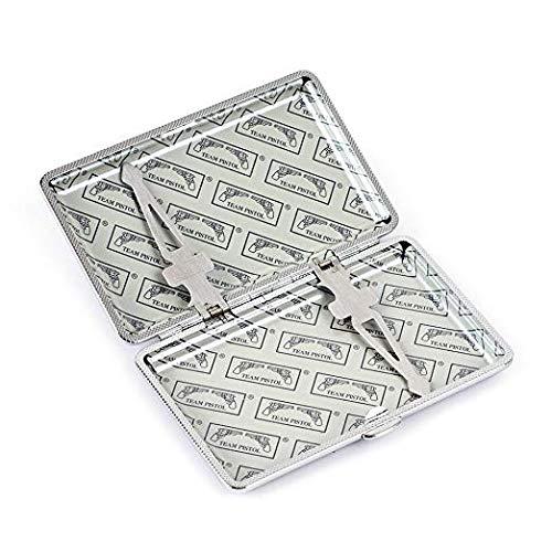 pitillera de largo cubierta de metal con piel sint/ética surface-femmes Funda fina con cigarrillos